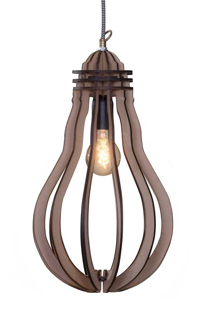 Peer in peer gesneden laser hout hanglamp for Design lamp hout